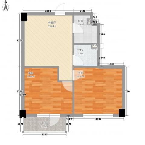 菁英汇2室1厅1卫1厨76.00㎡户型图