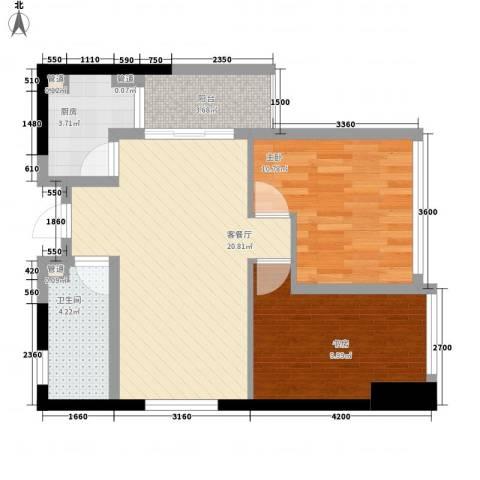 江宇天府城2室1厅1卫1厨78.00㎡户型图