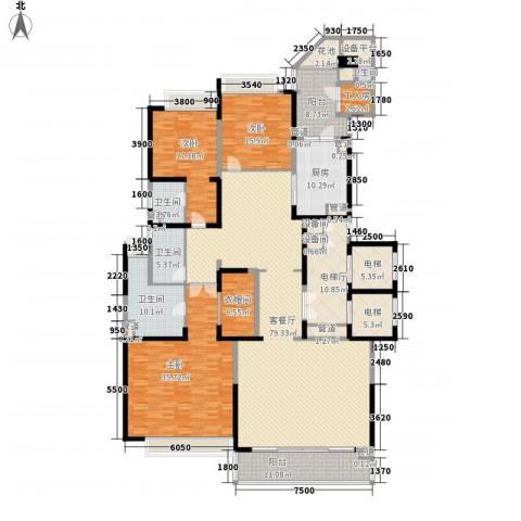 恒大绿洲3室1厅4卫1厨267.00㎡户型图