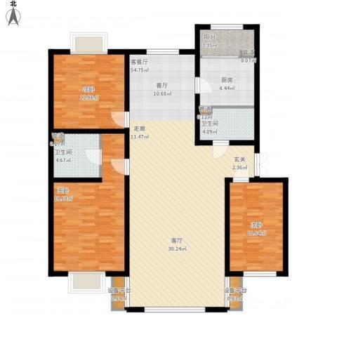 银亿阳光城3室1厅2卫1厨167.00㎡户型图