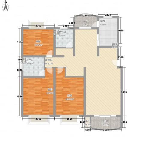 河风丽景3室1厅2卫1厨163.00㎡户型图