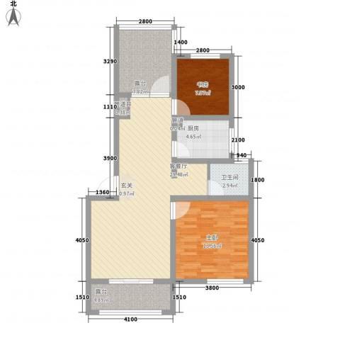 魅力之城2室1厅1卫1厨73.00㎡户型图