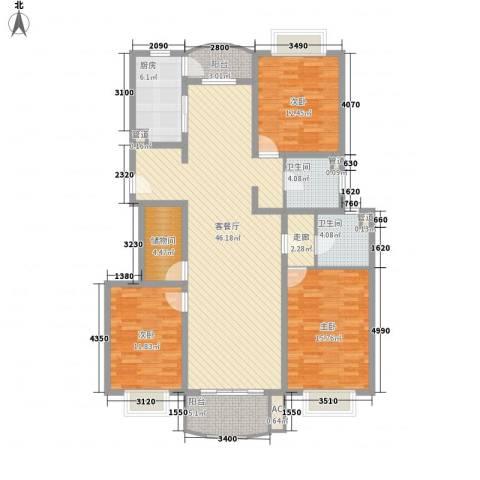 河风丽景3室1厅2卫1厨167.00㎡户型图