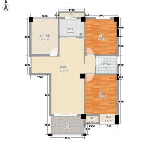 名城2室1厅1卫1厨121.00㎡户型图