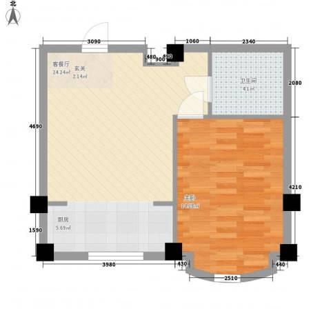 文华园1室1厅1卫0厨56.00㎡户型图