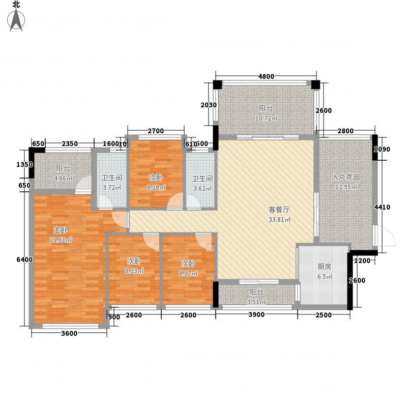城市嘉园户型图1栋03户型 4室2厅2卫1厨