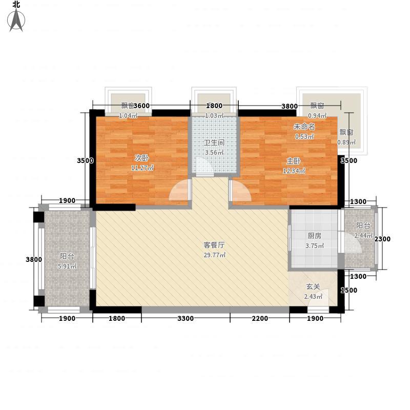 东旭华庭1.70㎡A1户型2室2厅1卫1厨