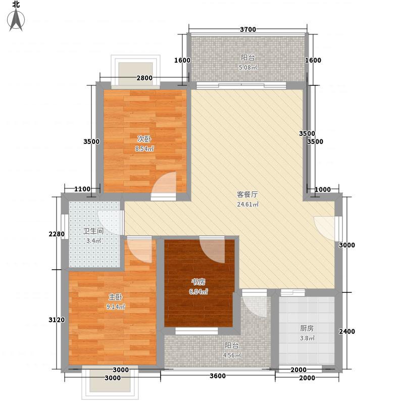 东峰广场88.57㎡E#h户型3室2厅1卫1厨