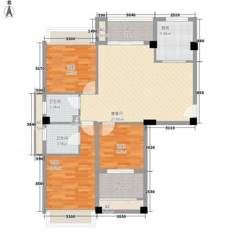 御泉万景3室1厅2卫1厨117.00㎡户型图