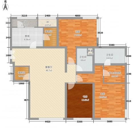 万国金色家园3室1厅2卫1厨181.00㎡户型图