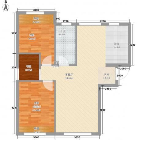 海天富地3室1厅1卫0厨88.00㎡户型图