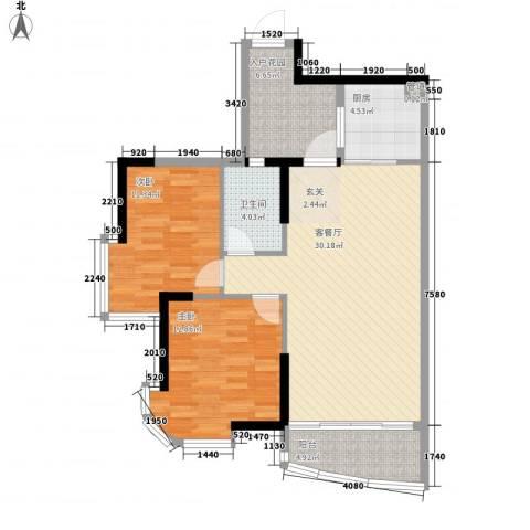 颐景园2室1厅1卫1厨106.00㎡户型图