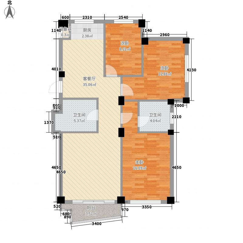 文华园119.01㎡户型3室2厅2卫1厨