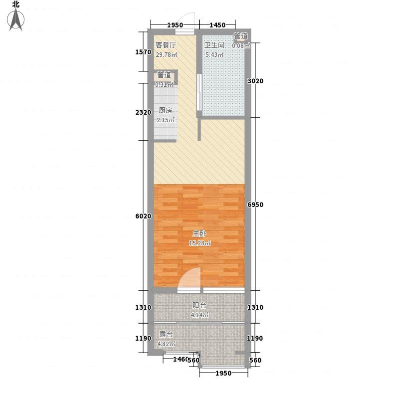 恒泰时间海54.00㎡5、6号楼E正面户型1室1厅1卫1厨