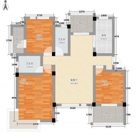 旭辉朗香郡3室1厅2卫1厨112.00㎡户型图