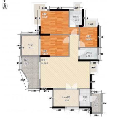 劲力城市明珠二期3室1厅2卫1厨126.00㎡户型图