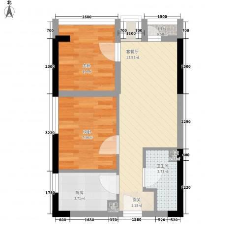国子间2室1厅1卫1厨51.00㎡户型图