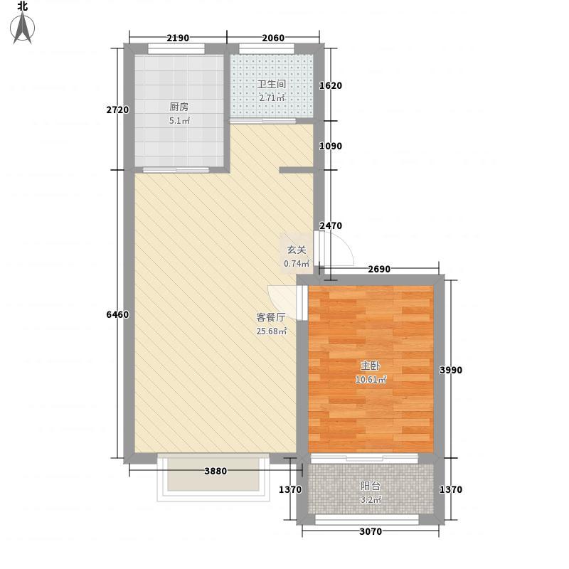 宝月山庄67.00㎡户型1室2厅1卫1厨