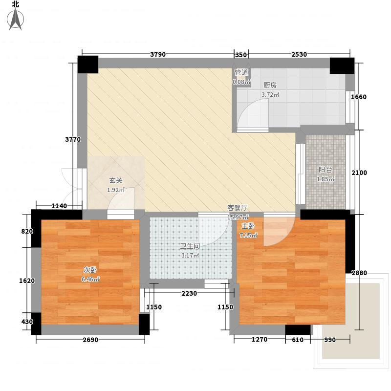 西城品阁57.18㎡1#楼A3户型2室2厅1卫1厨