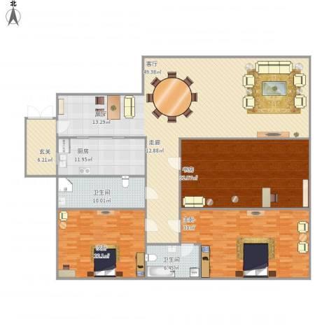 国信上城3室1厅2卫1厨195.14㎡户型图