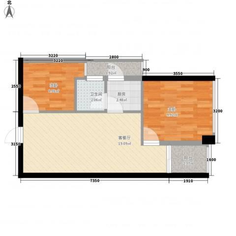 警备区龙华公寓2室1厅1卫1厨61.00㎡户型图