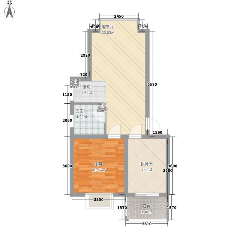 泊岸南山68.50㎡标准层A户型3室