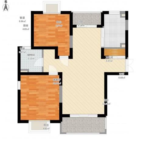 珠江香樟南园二期2室1厅1卫1厨98.00㎡户型图