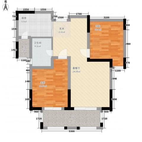 紫金英郡2室1厅1卫1厨88.00㎡户型图
