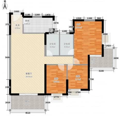 太微花园3室1厅2卫1厨145.00㎡户型图