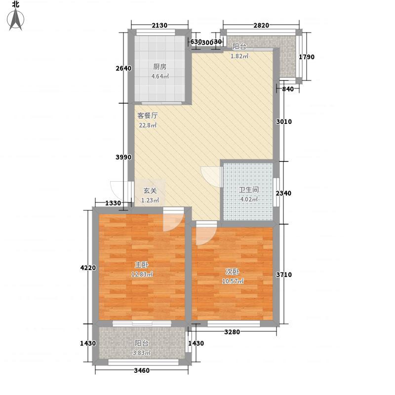 宝月山庄88.00㎡户型2室2厅1卫1厨
