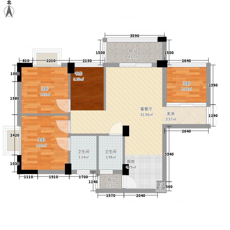 西城品阁4.63㎡2#楼B1户型4室2厅2卫1厨