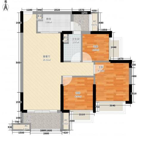 保利公园九里3室1厅1卫1厨89.00㎡户型图