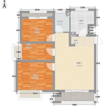 象屿上海年华3室1厅1卫1厨92.00㎡户型图