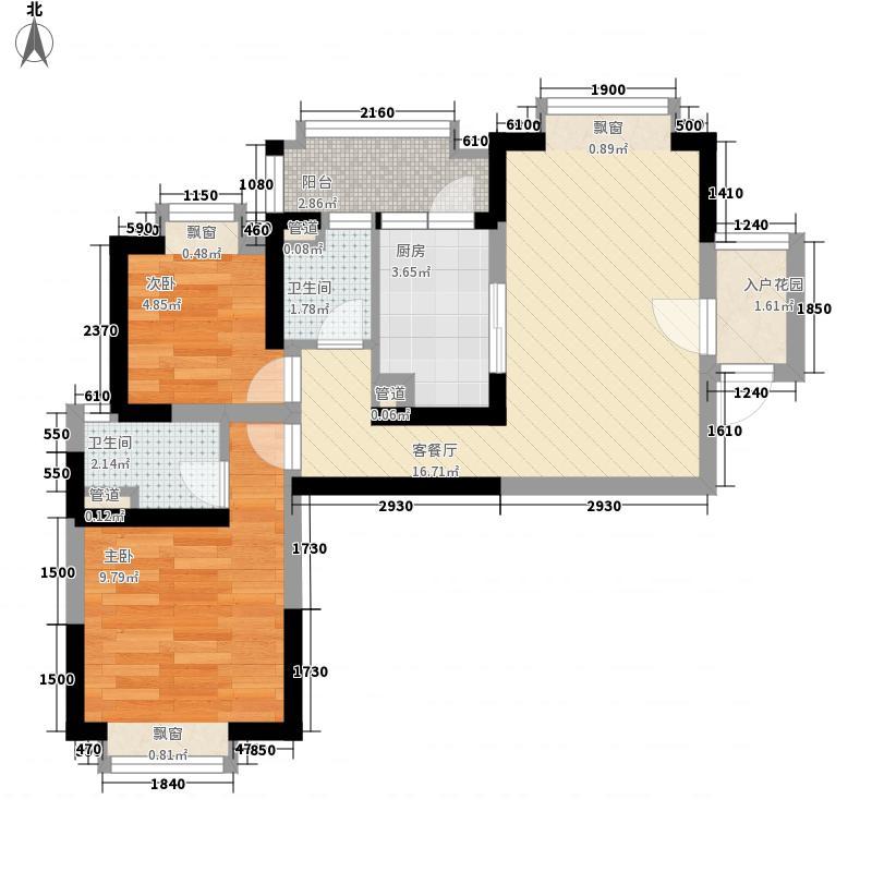 顺德碧桂园户型图喜居组团19座15层1502 2室2厅1卫1厨