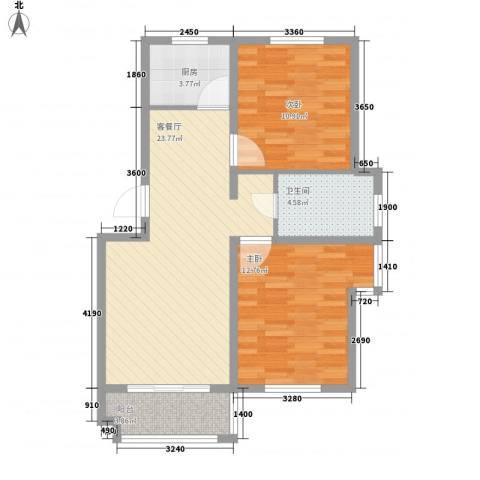 水岸新城2室1厅1卫1厨85.00㎡户型图