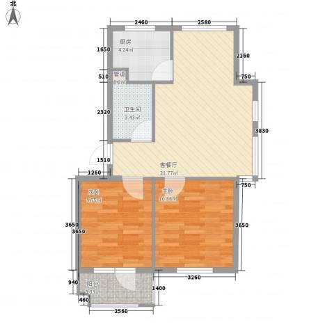 水岸新城2室1厅1卫1厨75.00㎡户型图