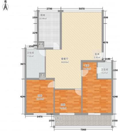 东方苑3室1厅2卫1厨160.00㎡户型图