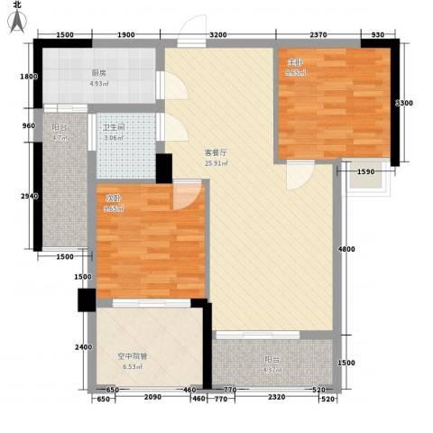 泽胜中央广场2室1厅1卫1厨99.00㎡户型图