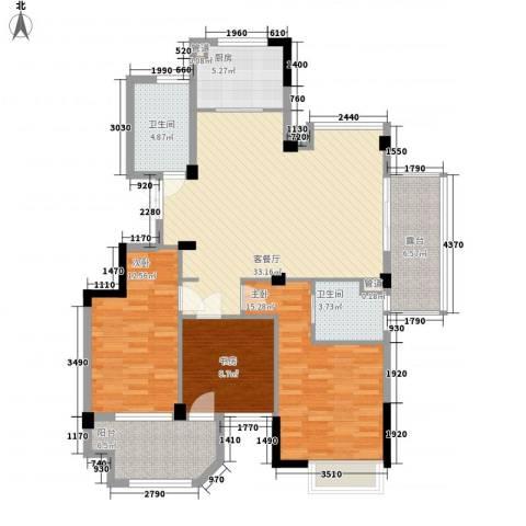 赞成香林3室1厅2卫1厨120.00㎡户型图