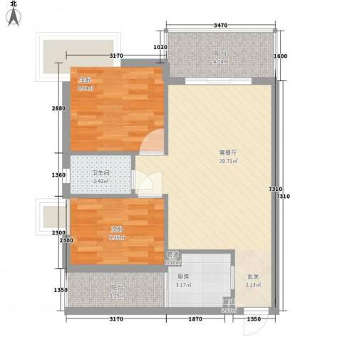 金翠峰1号2室1厅1卫1厨70.00㎡户型图