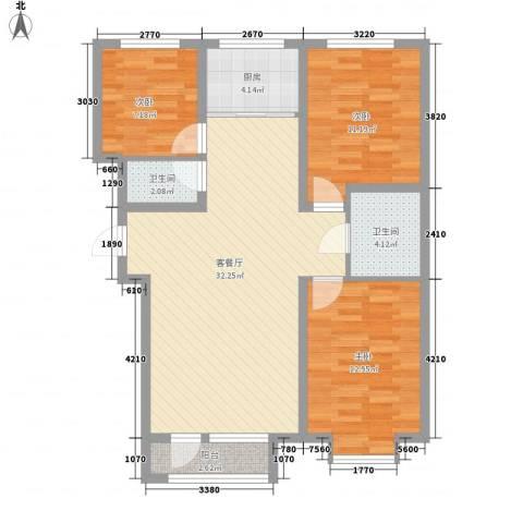 海湖豪庭3室1厅2卫1厨76.52㎡户型图