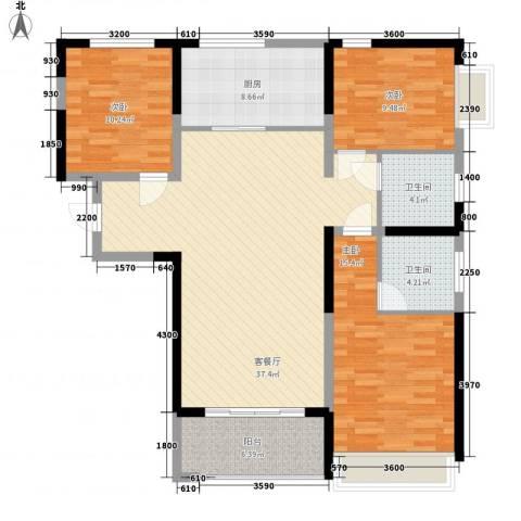 中国铁建领秀城3室1厅2卫1厨108.23㎡户型图