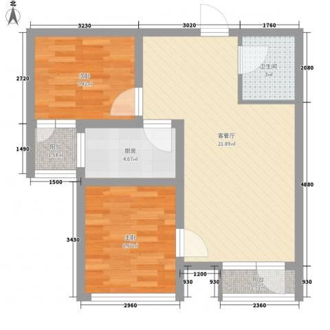 海湖豪庭2室1厅1卫1厨71.00㎡户型图