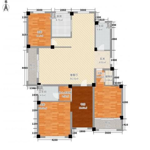西郊现代家园3室1厅2卫1厨196.00㎡户型图