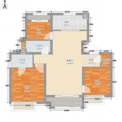 象屿上海年华3室1厅2卫1厨105.00㎡户型图