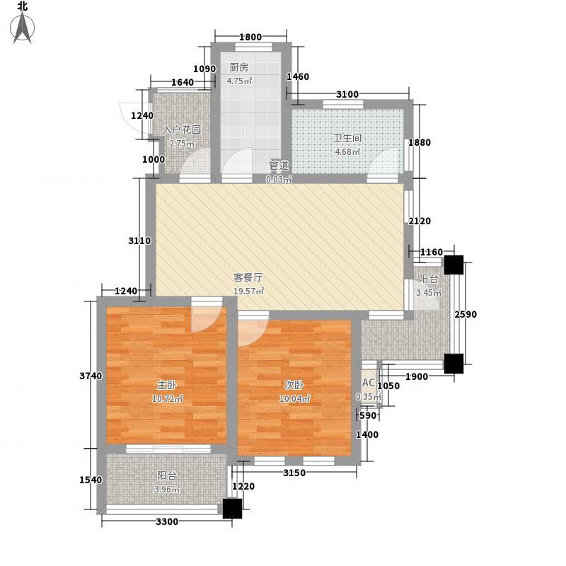 金悦华庭89.00㎡平层户型2室2厅1卫