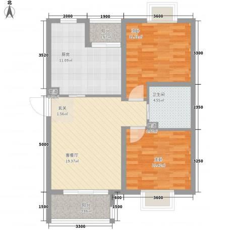 莱镇香格里2室1厅1卫1厨93.00㎡户型图