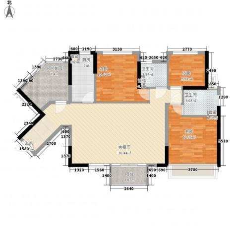 万科金域东郡3室1厅2卫1厨104.00㎡户型图