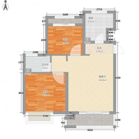象屿上海年华2室1厅1卫1厨82.00㎡户型图