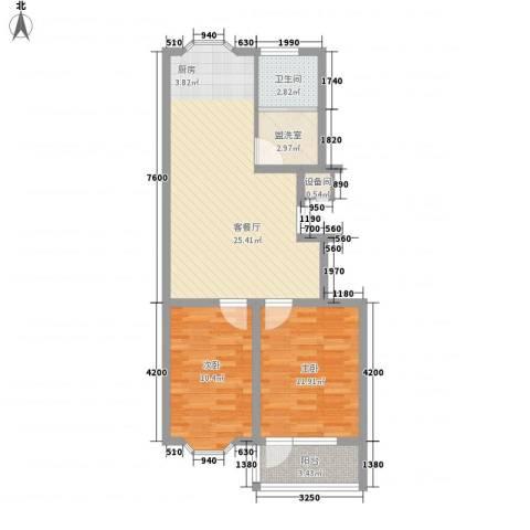 滨海龙城2室1厅1卫0厨57.48㎡户型图